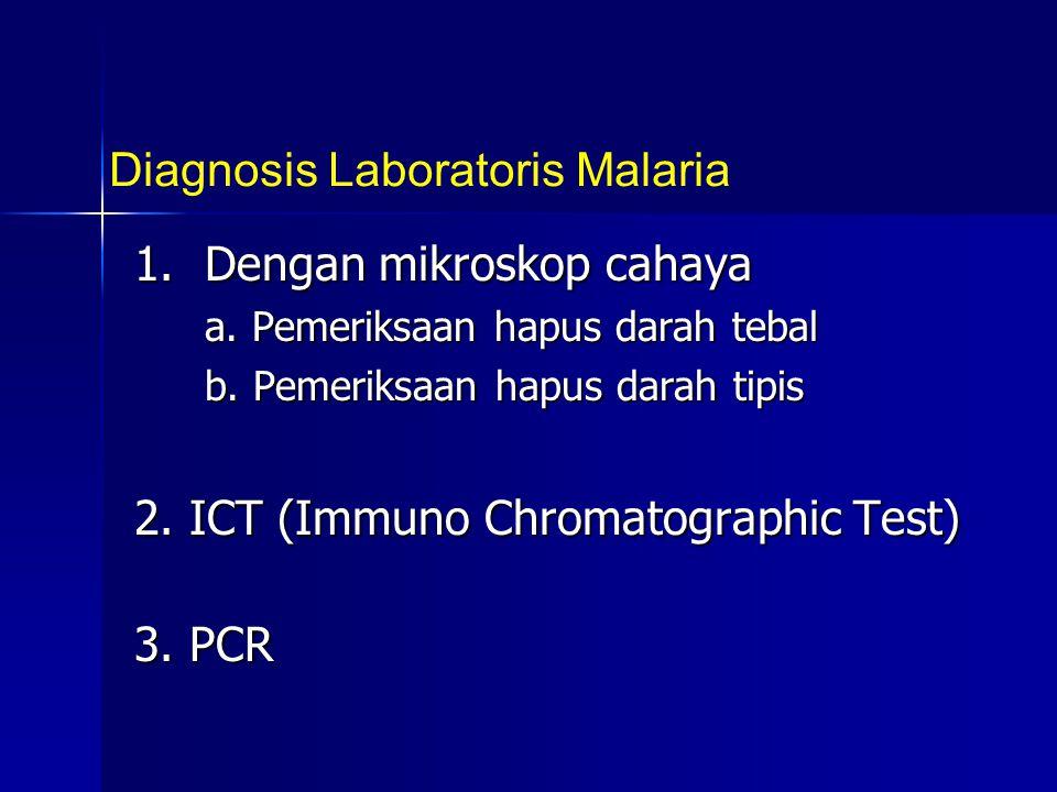 1. Dengan mikroskop cahaya a. Pemeriksaan hapus darah tebal b. Pemeriksaan hapus darah tipis 2. ICT (Immuno Chromatographic Test) 3. PCR Diagnosis Lab