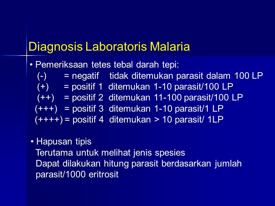 Pemeriksaan tetes tebal darah tepi: (-) = negatif tidak ditemukan parasit dalam 100 LP (+) = positif 1 ditemukan 1-10 parasit/100 LP (++) = positif 2