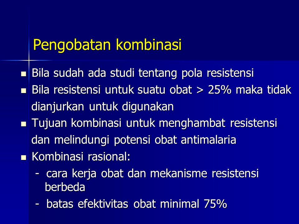 Pengobatan kombinasi Bila sudah ada studi tentang pola resistensi Bila sudah ada studi tentang pola resistensi Bila resistensi untuk suatu obat > 25%