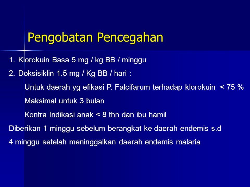 Pengobatan Pencegahan 1.Klorokuin Basa 5 mg / kg BB / minggu 2.Doksisiklin 1.5 mg / Kg BB / hari : Untuk daerah yg efikasi P. Falcifarum terhadap klor