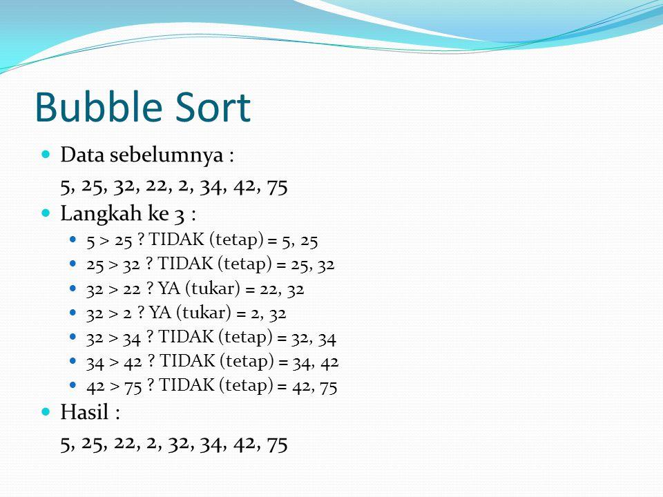 Bubble Sort Data sebelumnya : 5, 25, 32, 22, 2, 34, 42, 75 Langkah ke 3 : 5 > 25 ? TIDAK (tetap) = 5, 25 25 > 32 ? TIDAK (tetap) = 25, 32 32 > 22 ? YA