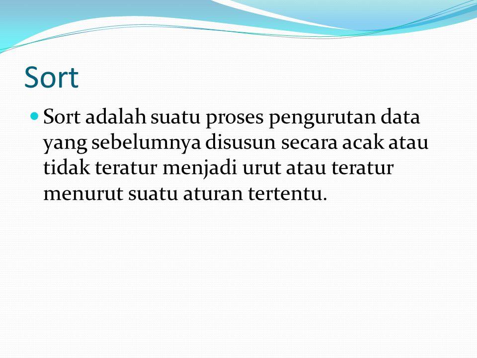 Sort Sort adalah suatu proses pengurutan data yang sebelumnya disusun secara acak atau tidak teratur menjadi urut atau teratur menurut suatu aturan te