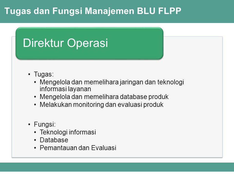Tugas dan Fungsi Manajemen BLU FLPP Tugas: Mengelola dan memelihara jaringan dan teknologi informasi layanan Mengelola dan memelihara database produk Melakukan monitoring dan evaluasi produk Fungsi: Teknologi informasi Database Pemantauan dan Evaluasi Direktur Operasi
