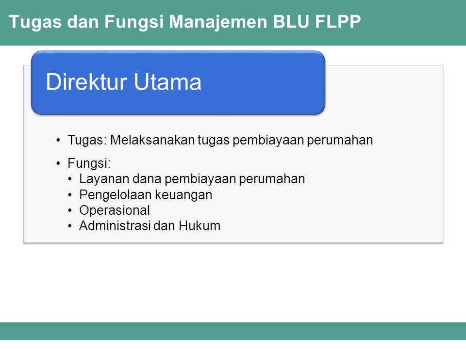 Tugas dan Fungsi Manajemen BLU FLPP Tugas: Memasarkan produk kepada masyarakat dan pemangku kepentingan Menjalin dan mengikat kerjasama dengan pemangku kepentingan Melakukan verifikasi konsumen sesuai kriteria tertentu Inovasi dan pengembangan layanan secara berkesinambungan Fungsi: Pemasaran Kerjasama Verifikasi Direktur Layanan