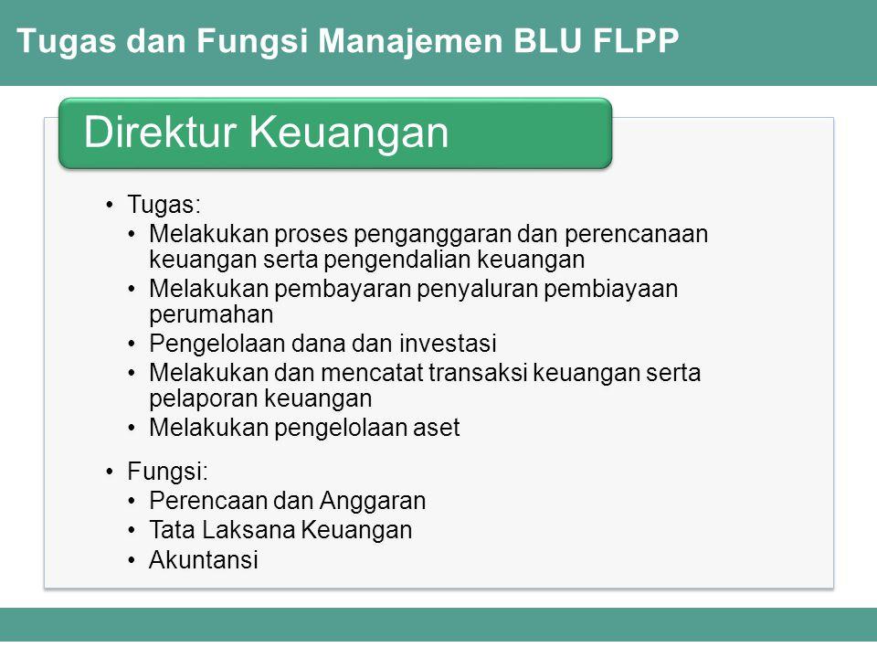 Tugas dan Fungsi Manajemen BLU FLPP Tugas: Melakukan proses penganggaran dan perencanaan keuangan serta pengendalian keuangan Melakukan pembayaran pen