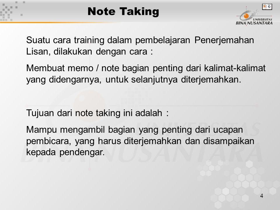4 Note Taking Suatu cara training dalam pembelajaran Penerjemahan Lisan, dilakukan dengan cara : Membuat memo / note bagian penting dari kalimat-kalim