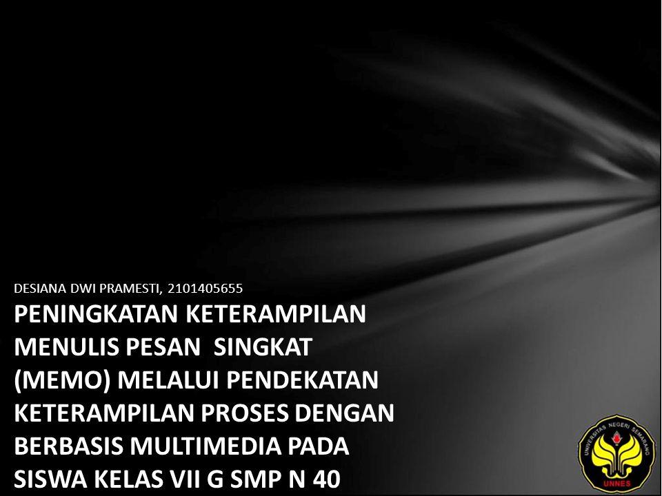 Identitas Mahasiswa - NAMA : DESIANA DWI PRAMESTI - NIM : 2101405655 - PRODI : Pendidikan Bahasa, Sastra Indonesia, dan Daerah (Pendidikan Bahasa dan Sastra Indonesia) - JURUSAN : Bahasa & Sastra Indonesia - FAKULTAS : Bahasa dan Seni - EMAIL : Desiana pada domain Pramesti.com - PEMBIMBING 1 : Drs.Hari Bakti M, M.Hum.