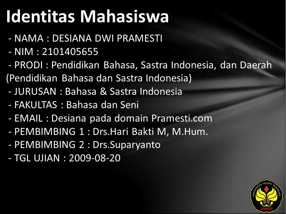 Identitas Mahasiswa - NAMA : DESIANA DWI PRAMESTI - NIM : 2101405655 - PRODI : Pendidikan Bahasa, Sastra Indonesia, dan Daerah (Pendidikan Bahasa dan