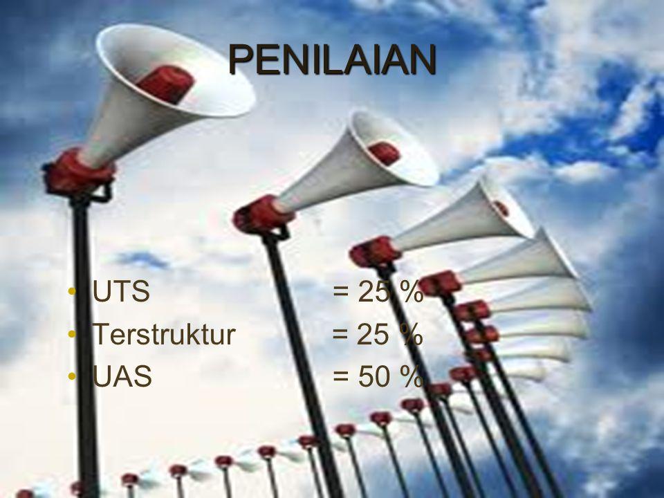 PENILAIAN UTS= 25 % Terstruktur = 25 % UAS= 50 %