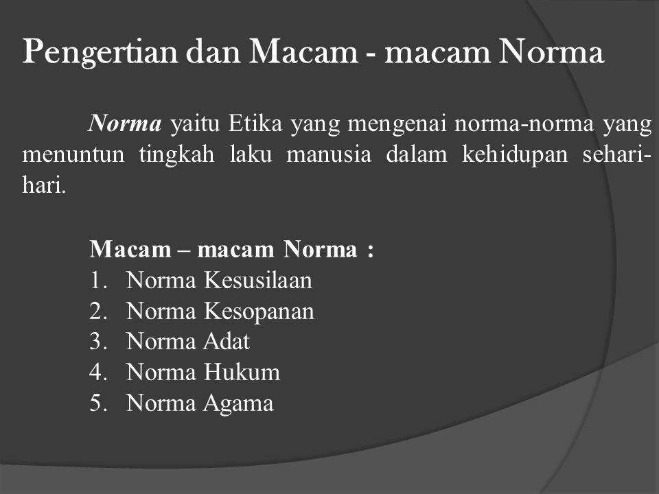 Pengertian dan Macam - macam Norma Norma yaitu Etika yang mengenai norma-norma yang menuntun tingkah laku manusia dalam kehidupan sehari- hari.
