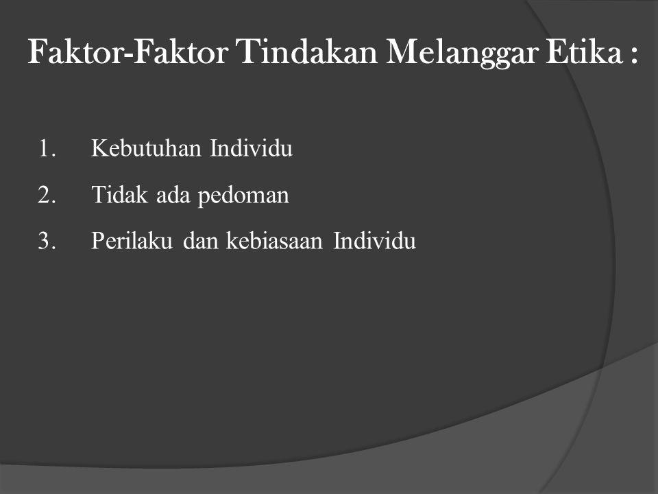Faktor-Faktor Tindakan Melanggar Etika : 1.Kebutuhan Individu 2.Tidak ada pedoman 3.Perilaku dan kebiasaan Individu