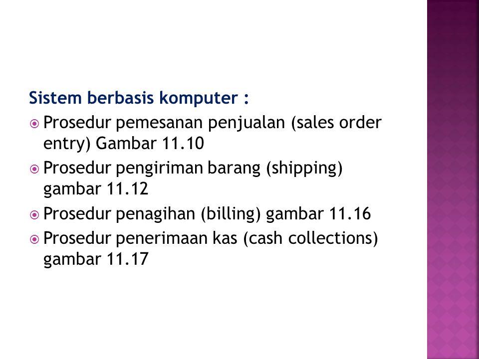Sistem berbasis komputer :  Prosedur pemesanan penjualan (sales order entry) Gambar 11.10  Prosedur pengiriman barang (shipping) gambar 11.12  Pros