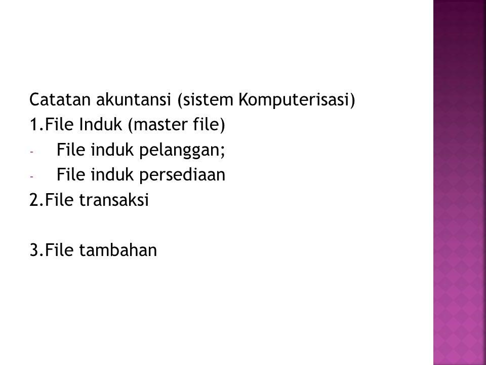 Catatan akuntansi (sistem Komputerisasi) 1.File Induk (master file) - File induk pelanggan; - File induk persediaan 2.File transaksi 3.File tambahan
