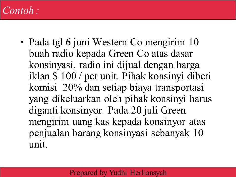 Irwin/McGraw-Hill © The McGraw-Hill Companies, Inc., 1999 Contoh : Pada tgl 6 juni Western Co mengirim 10 buah radio kepada Green Co atas dasar konsinyasi, radio ini dijual dengan harga iklan $ 100 / per unit.