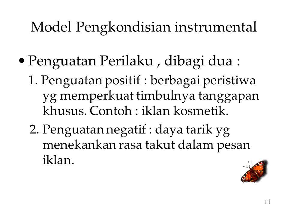Model Pengkondisian instrumental Penguatan Perilaku, dibagi dua : 1.