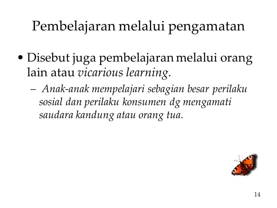 Pembelajaran melalui pengamatan Disebut juga pembelajaran melalui orang lain atau vicarious learning.