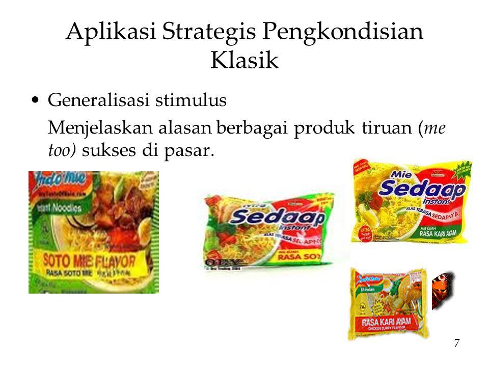 Aplikasi Strategis Pengkondisian Klasik Generalisasi stimulus Menjelaskan alasan berbagai produk tiruan (me too) sukses di pasar.