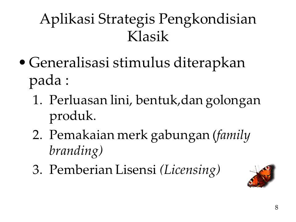 Aplikasi Strategis Pengkondisian Klasik Generalisasi stimulus diterapkan pada : 1.Perluasan lini, bentuk,dan golongan produk.