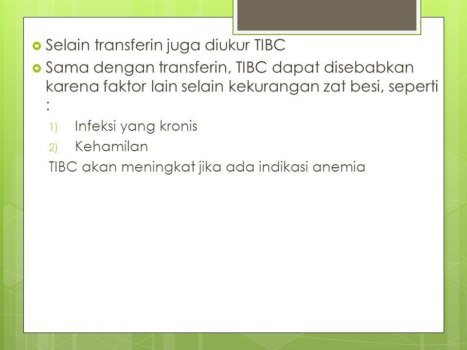  Selain transferin juga diukur TIBC  Sama dengan transferin, TIBC dapat disebabkan karena faktor lain selain kekurangan zat besi, seperti : 1) Infek