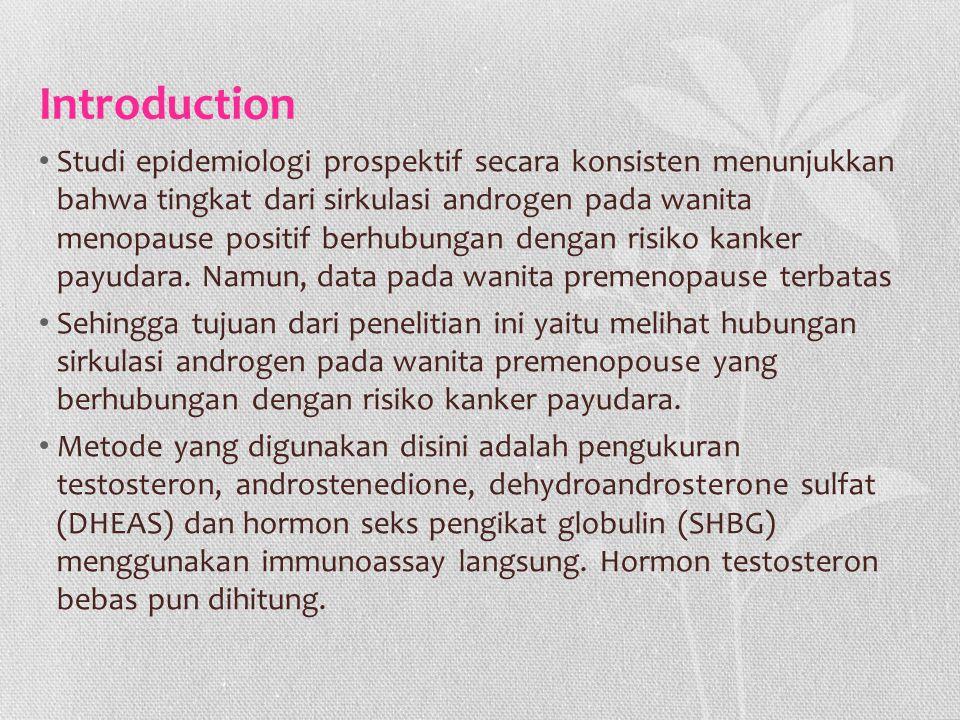 Introduction Studi epidemiologi prospektif secara konsisten menunjukkan bahwa tingkat dari sirkulasi androgen pada wanita menopause positif berhubunga