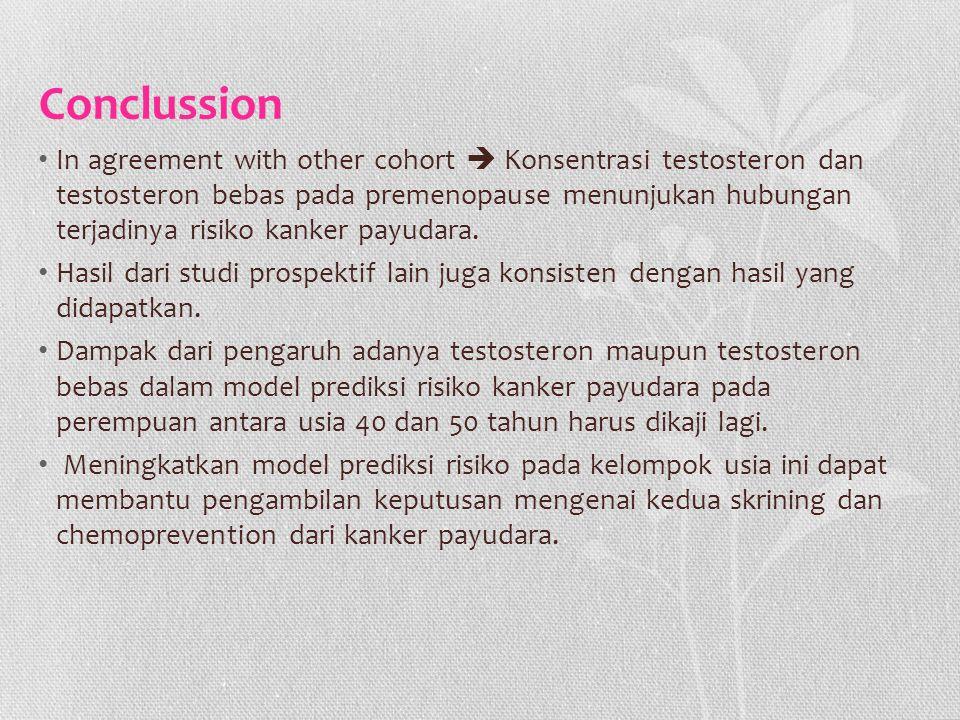 Conclussion In agreement with other cohort  Konsentrasi testosteron dan testosteron bebas pada premenopause menunjukan hubungan terjadinya risiko kan
