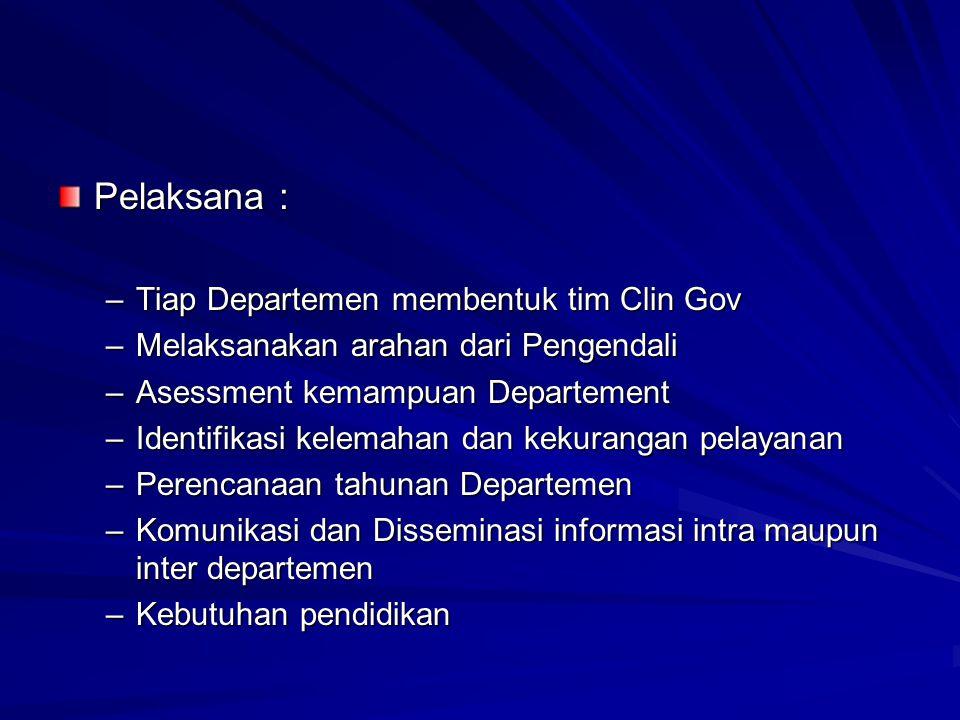 Pelaksana : –Tiap Departemen membentuk tim Clin Gov –Melaksanakan arahan dari Pengendali –Asessment kemampuan Departement –Identifikasi kelemahan dan