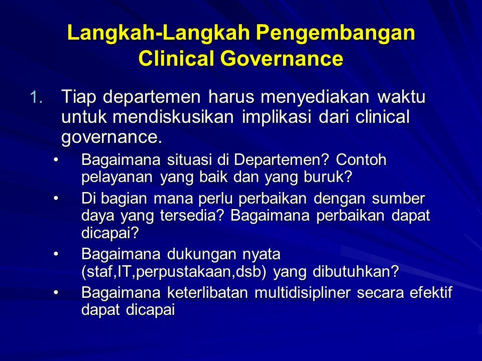 Langkah-Langkah Pengembangan Clinical Governance 1. Tiap departemen harus menyediakan waktu untuk mendiskusikan implikasi dari clinical governance. Ba