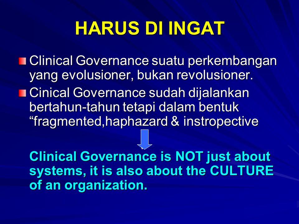 HARUS DI INGAT Clinical Governance suatu perkembangan yang evolusioner, bukan revolusioner. Cinical Governance sudah dijalankan bertahun-tahun tetapi