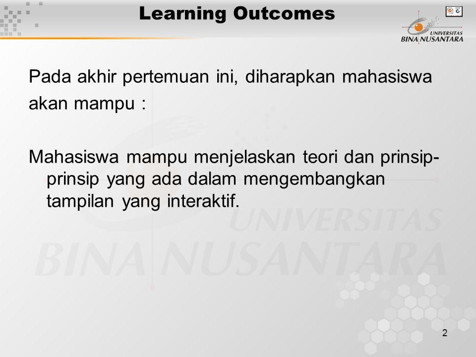2 Learning Outcomes Pada akhir pertemuan ini, diharapkan mahasiswa akan mampu : Mahasiswa mampu menjelaskan teori dan prinsip- prinsip yang ada dalam mengembangkan tampilan yang interaktif.