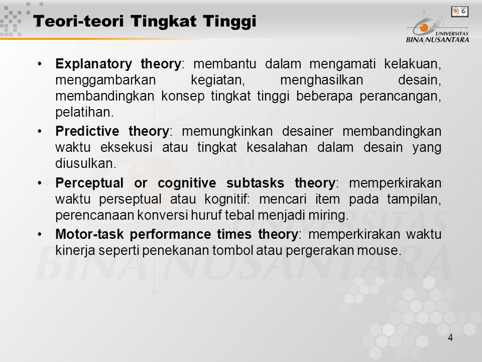 4 Teori-teori Tingkat Tinggi Explanatory theory: membantu dalam mengamati kelakuan, menggambarkan kegiatan, menghasilkan desain, membandingkan konsep tingkat tinggi beberapa perancangan, pelatihan.