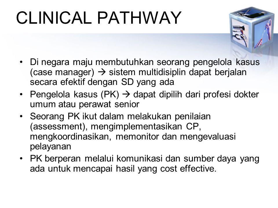 CLINICAL PATHWAY Di negara maju membutuhkan seorang pengelola kasus (case manager)  sistem multidisiplin dapat berjalan secara efektif dengan SD yang