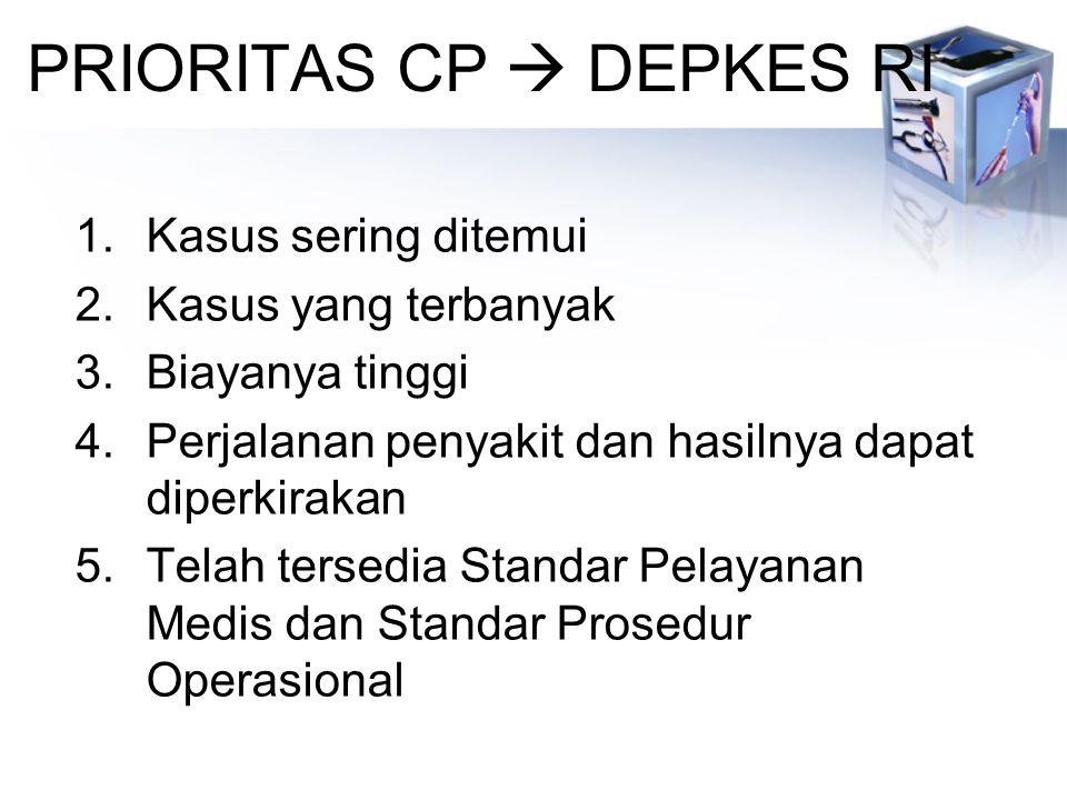 PRIORITAS CP  DEPKES RI 1.Kasus sering ditemui 2.Kasus yang terbanyak 3.Biayanya tinggi 4.Perjalanan penyakit dan hasilnya dapat diperkirakan 5.Telah tersedia Standar Pelayanan Medis dan Standar Prosedur Operasional