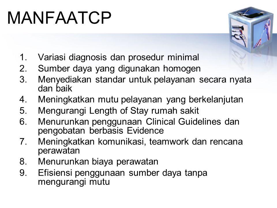 MANFAATCP 1.Variasi diagnosis dan prosedur minimal 2.Sumber daya yang digunakan homogen 3.Menyediakan standar untuk pelayanan secara nyata dan baik 4.Meningkatkan mutu pelayanan yang berkelanjutan 5.Mengurangi Length of Stay rumah sakit 6.Menurunkan penggunaan Clinical Guidelines dan pengobatan berbasis Evidence 7.Meningkatkan komunikasi, teamwork dan rencana perawatan 8.Menurunkan biaya perawatan 9.Efisiensi penggunaan sumber daya tanpa mengurangi mutu