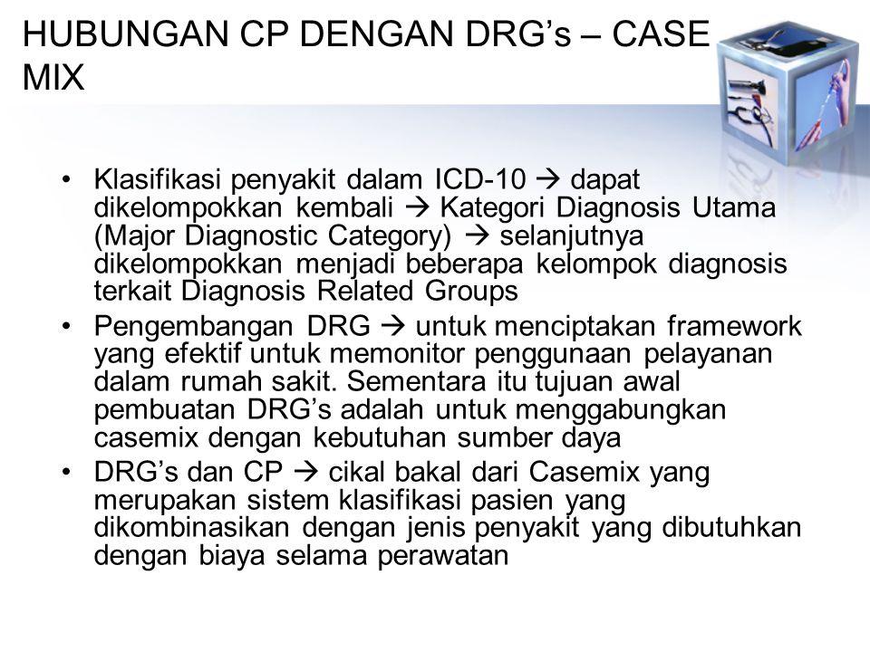 HUBUNGAN CP DENGAN DRG's – CASE MIX Klasifikasi penyakit dalam ICD-10  dapat dikelompokkan kembali  Kategori Diagnosis Utama (Major Diagnostic Category)  selanjutnya dikelompokkan menjadi beberapa kelompok diagnosis terkait Diagnosis Related Groups Pengembangan DRG  untuk menciptakan framework yang efektif untuk memonitor penggunaan pelayanan dalam rumah sakit.