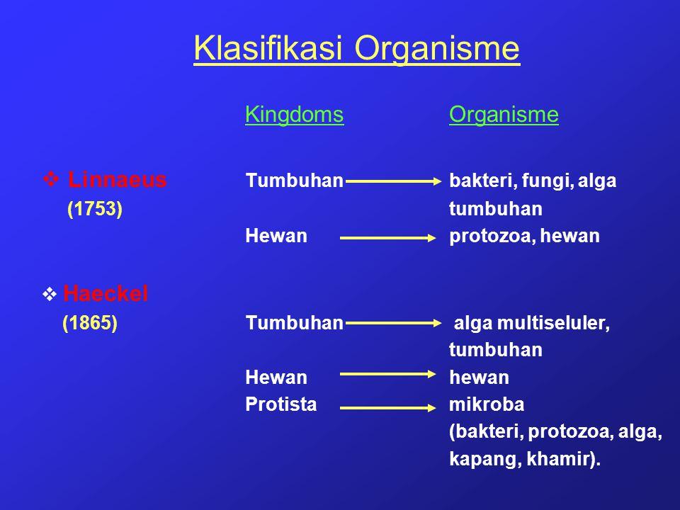 Klasifikasi Organisme KingdomsOrganisme  Linnaeus Tumbuhanbakteri, fungi, alga (1753) tumbuhan Hewanprotozoa, hewan  Haeckel (1865)Tumbuhan alga mul