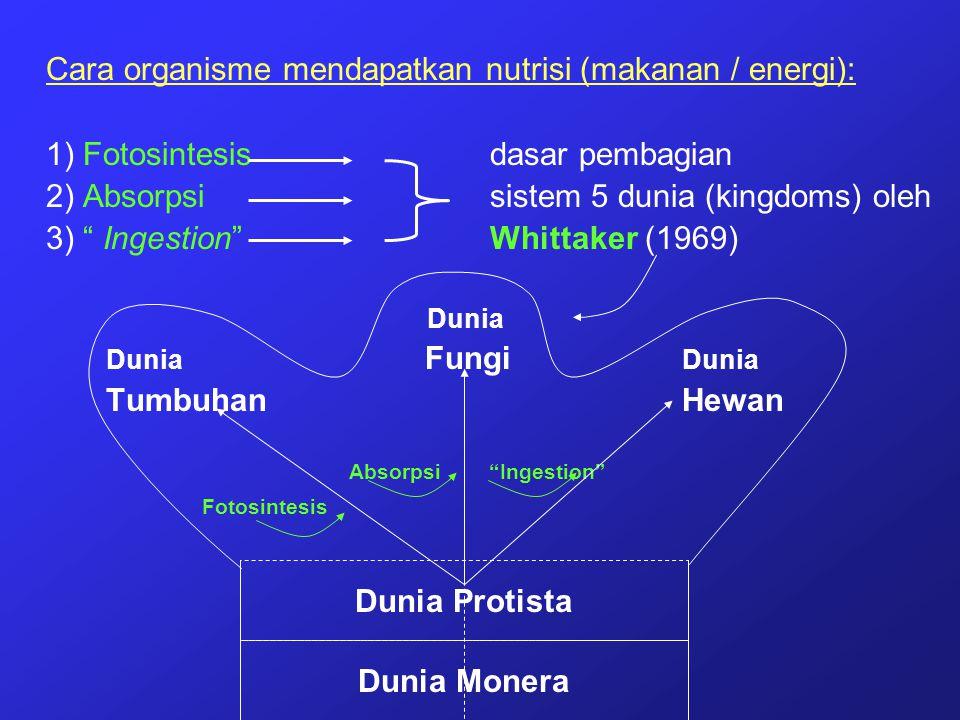 """Cara organisme mendapatkan nutrisi (makanan / energi): 1) Fotosintesisdasar pembagian 2) Absorpsisistem 5 dunia (kingdoms) oleh 3) """" Ingestion"""" Whitta"""