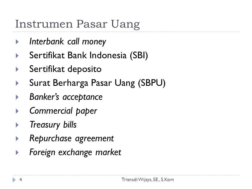 Instrumen Pasar Uang Trisnadi Wijaya, SE., S.Kom4  Interbank call money  Sertifikat Bank Indonesia (SBI)  Sertifikat deposito  Surat Berharga Pasa