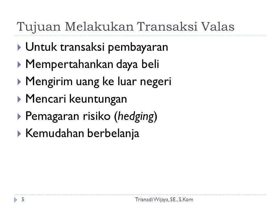 Tujuan Melakukan Transaksi Valas Trisnadi Wijaya, SE., S.Kom5  Untuk transaksi pembayaran  Mempertahankan daya beli  Mengirim uang ke luar negeri 