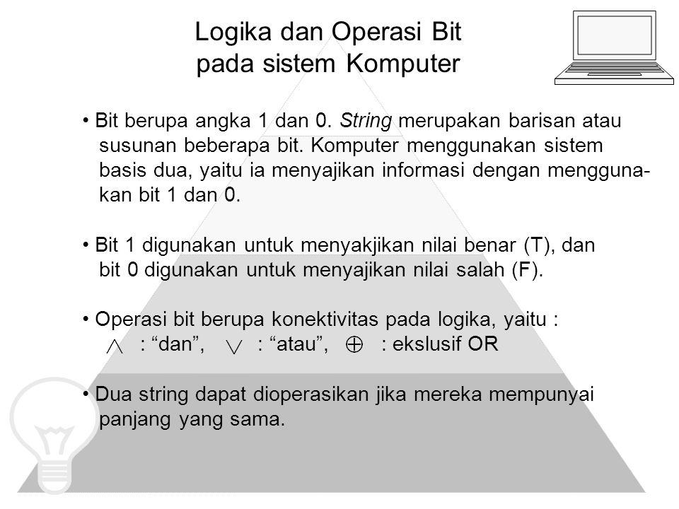 Logika dan Operasi Bit pada sistem Komputer (Lanjutan) CONTOH : Diberikan dua string x dan y sbb : x = 01 1011 0110 dan y = 11 0001 1101.
