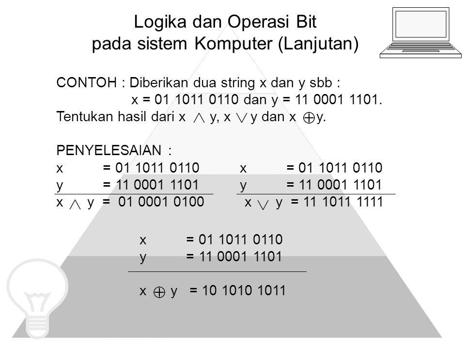 tugas 1.Tentukan hasil pasangan bit OR, AND dan XOR untuk pasangan bit string berikut a.
