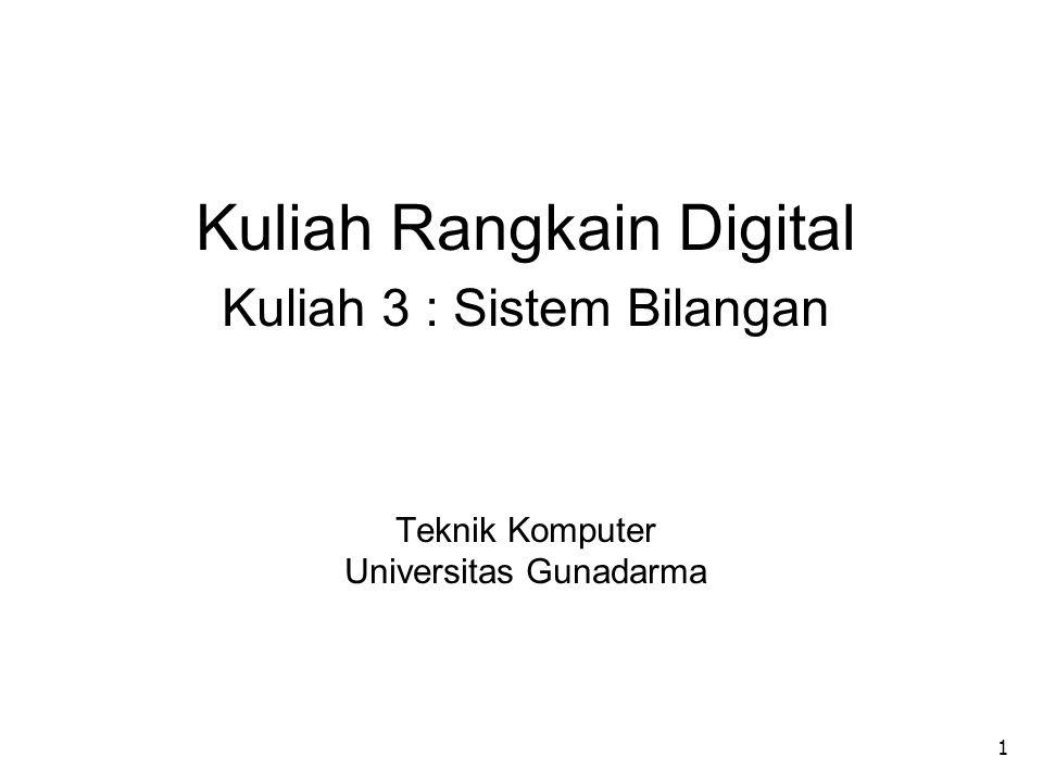 1 Kuliah Rangkain Digital Kuliah 3 : Sistem Bilangan Teknik Komputer Universitas Gunadarma