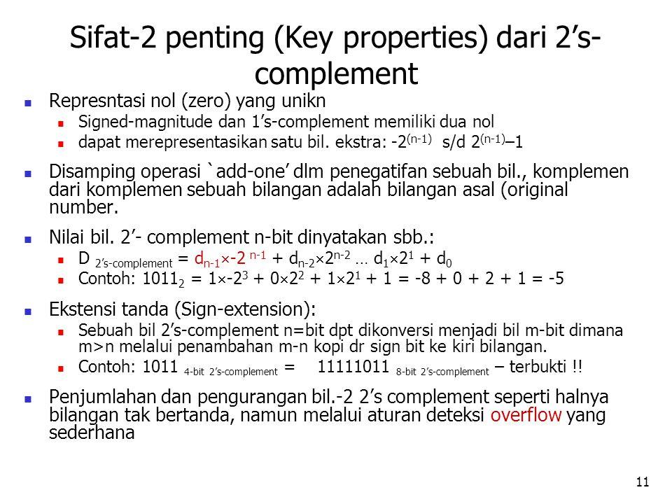 11 Represntasi nol (zero) yang unikn Signed-magnitude dan 1's-complement memiliki dua nol dapat merepresentasikan satu bil.