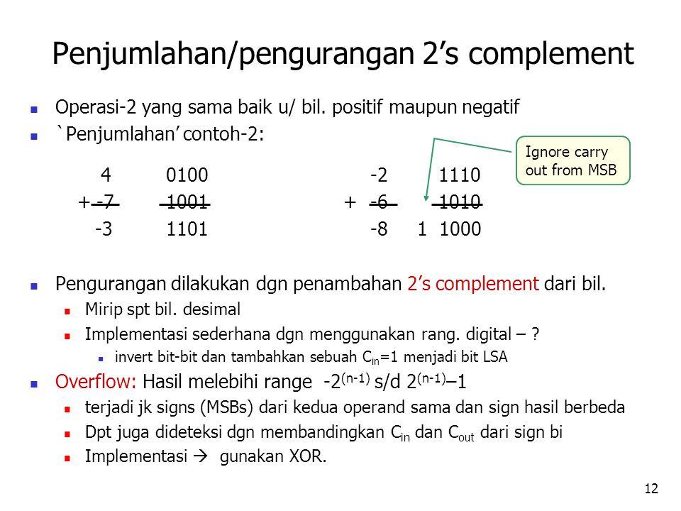 12 Operasi-2 yang sama baik u/ bil. positif maupun negatif `Penjumlahan' contoh-2: 40100-21110 + -71001 +-61010 -31101-8 1 1000 Pengurangan dilakukan