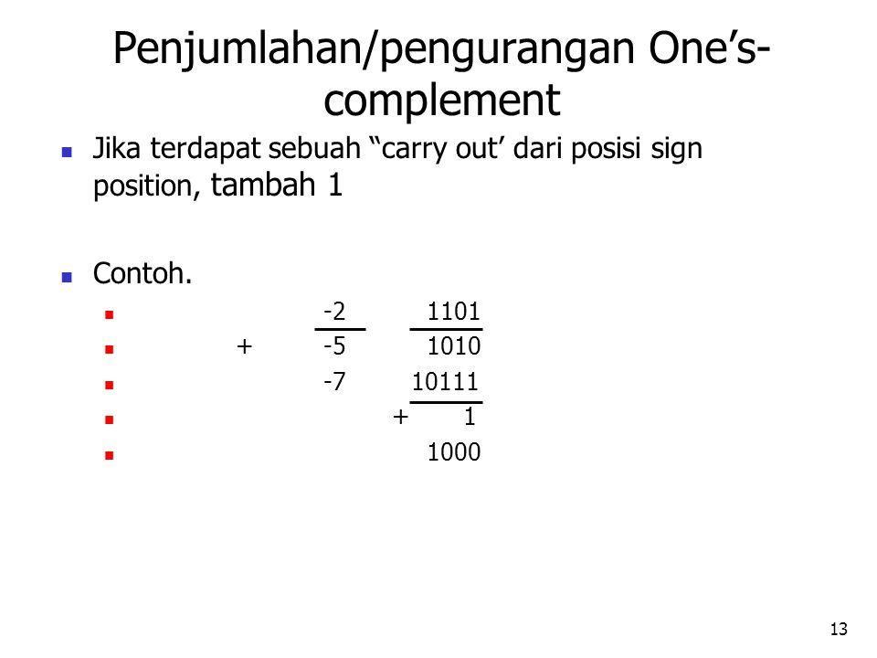 13 Jika terdapat sebuah carry out' dari posisi sign position, tambah 1 Contoh.