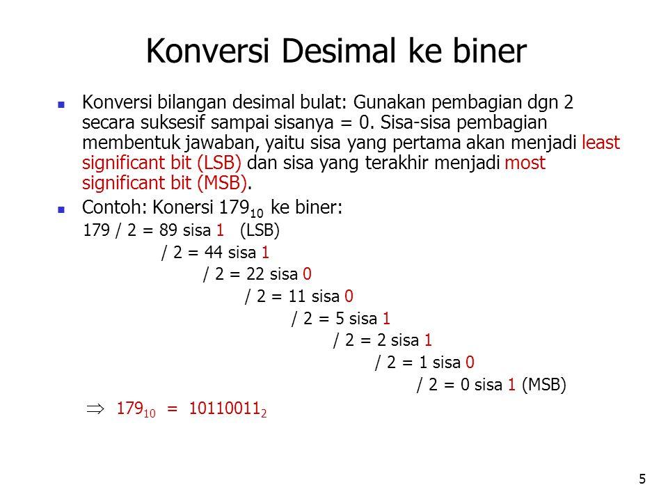 6 Konversi fraksi-fraksi desimal ke biner: kalikan dengan 2 secara berulang sampai fraksi hasil perkalian = 0 (atau sampai jumlah penempatan biner yang diharapkan).
