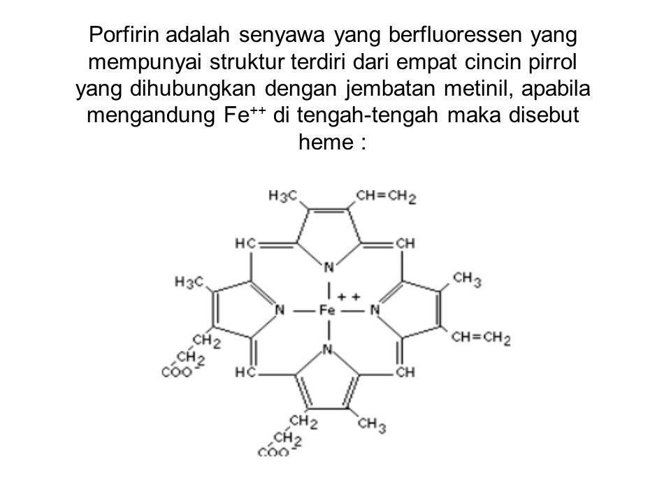 Porfirin adalah senyawa yang berfluoressen yang mempunyai struktur terdiri dari empat cincin pirrol yang dihubungkan dengan jembatan metinil, apabila