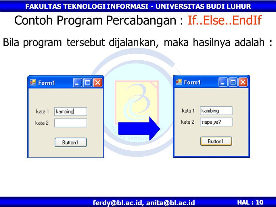 FAKULTAS TEKNOLOGI INFORMASI - UNIVERSITAS BUDI LUHUR HAL : 10 ferdy@bl.ac.id, anita@bl.ac.id Bila program tersebut dijalankan, maka hasilnya adalah :