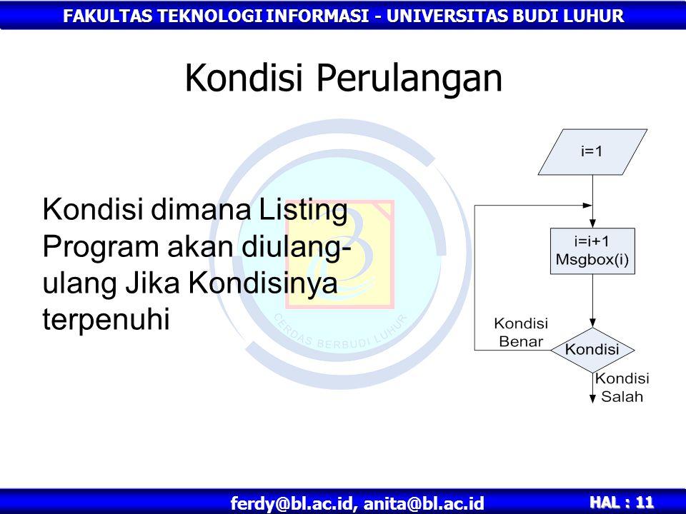 FAKULTAS TEKNOLOGI INFORMASI - UNIVERSITAS BUDI LUHUR HAL : 11 ferdy@bl.ac.id, anita@bl.ac.id Kondisi Perulangan Kondisi dimana Listing Program akan d