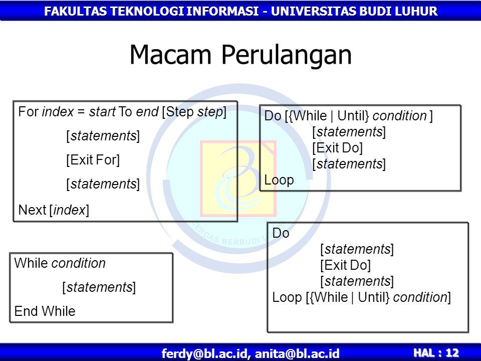 FAKULTAS TEKNOLOGI INFORMASI - UNIVERSITAS BUDI LUHUR HAL : 12 ferdy@bl.ac.id, anita@bl.ac.id Macam Perulangan For index = start To end [Step step] [s