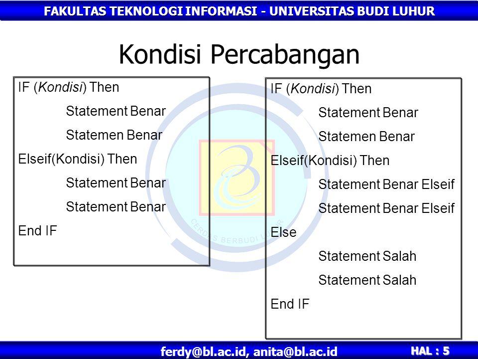 FAKULTAS TEKNOLOGI INFORMASI - UNIVERSITAS BUDI LUHUR HAL : 5 ferdy@bl.ac.id, anita@bl.ac.id Kondisi Percabangan IF (Kondisi) Then Statement Benar Sta